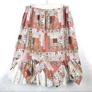 VINTAGE Unique Patchwork and Lace Prairie Skirt